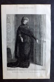 "ILN 1880 Mdlle. Sarah Bernhardt as Gilberte in ""Frou Frou"" at Gaiety Theatre"